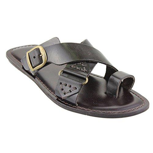 aarz Herren Casual Leder oberen Slip auf Mule Sandale Kreuz Band Comfort Schuhe (schwarz, braun) Braun