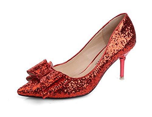 Aisun Femme Elégant Chaussures de Mariage Paillettes Escarpins Rouge