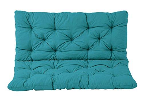 Ambientehome Coussin Haut Dossier pour de Banc de Jardin HANKO, 2 Sièges, Coton, ca. 100 x 98 x 8 cm, Ton Bleu, 100x98x8 cm