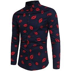 WINWINTOM Hombres Moda Floral Impresión Camisa, Botón Manga Larga Blusa (Armada, L)