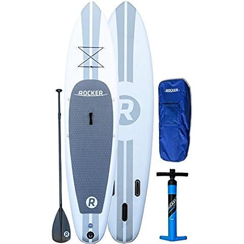 Tabla inflable de paddle surf iRocker, 305x76x15cm Conjunto SUP (Blanco)