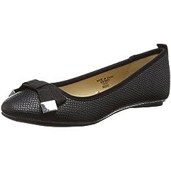 Jane Norman Damen Flat Round Toe Black Bow Detail Ballerinas, Schwarz (Schwarz), 36 EU (3 UK)
