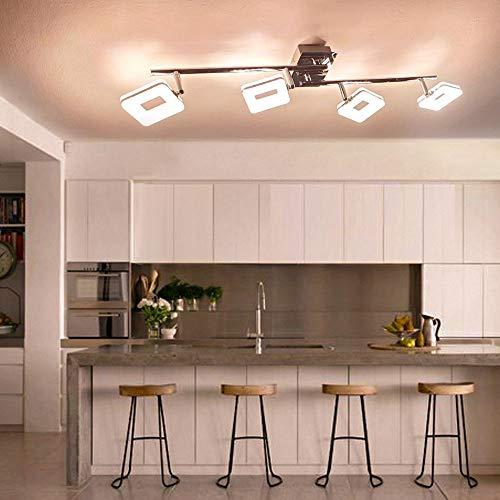 PADAM 20W LED Moderne Deckenleuchte 4-Flammig Wandspot Dreh-und Schwenkbar 4 x5W LED Deckenstrahler innen Deckenlampe Spot Warmes Licht fuer, Wohnzimmer, Flur und Esszimmer[Energieklasse A+] -