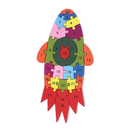 0Miaxudh Puzzlespiel-Spielzeug, hölzernes buntes Auto-Fahrzeug-Modell-Puzzlespiel des Alphabet-3D, Bildung scherzt Spielzeug Rocket#