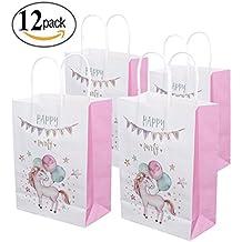Glodenbridge Bolsas de regalo de unicornio Bolsas adorables de papel Kraft para fiesta de fiesta de