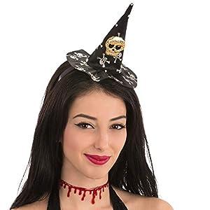 Generique - Mini Sombrero de Bruja Calavera Halloween Mujer