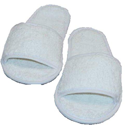 Preisvergleich Produktbild hochwertige Frottee Slipper weiss mit offenen Zehen, Classic Terry Slipper / Schuhe / Hausschuhe / Pantoletten / Hotelslipper / Badeschuhe, Gr. 36 - 41