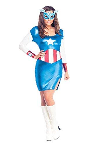Stars Kostüm Action Weiblichen - Rubie 's Offizielles Damen Marvel Miss American Dream Captain America Kleid, Erwachsene Kostüm-Extra Kleine UK 6-8
