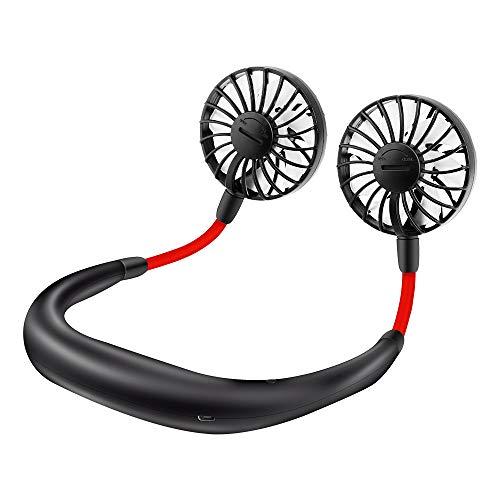 Ankuka Petit Ventilateur Cou Portable, Mini Ventilateur Serre-Nuque USB Rechargeable pour Conduite, Travail, Camping, Activités en Plein Air-Noir