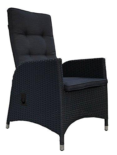 Grasekamp 2 Stück Polyrattan Sessel mit Auflagen Gasdruck Gartensessel verstellbar Gartenmöbel...