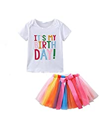 Quanj Toddler Baby Girls It's My 1st Birthday Printed T- Shirt Tops &Layered Rainbow Tulle Tutu Skirt Outfit Set Girls Dress up Baby Girl Gifts for 0-6 Years Old