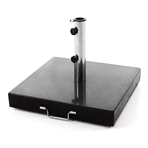 Nexos Sonnenschirmständer Granit matt-schwarz eckig mit Griff Rollen Reduzierhülsen, Edelstahlrohr poliert 50 x 50 cm 50 kg Für Schirme bis 5 m -