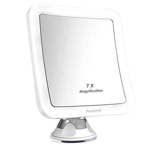 Auxmir Kosmetikspiegel LED Beleuchtet mit 7X Vergrößerung und Starkem Saugnapf, 360° Schwenkbar,...