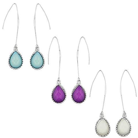 Lux Accessoires en blanc/vert menthe/violet goutte pierre Plusieurs Boucles