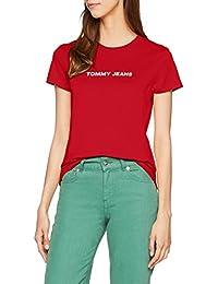 Tommy_Jeans Tjw Crew Logo tee, Camiseta sin Mangas para Mujer
