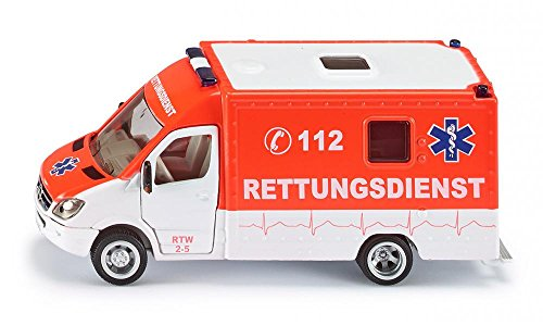 SIKU 2108, Rettungswagen, 1:50, Metall/Kunststoff, Rot, Bereifung aus Gummi, Öffenbare Türen
