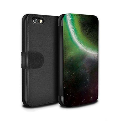 Stuff4 Coque/Etui/Housse Cuir PU Case/Cover pour Apple iPhone 8 / Planète Bleue Design / Cosmos Collection Éclipse Vert