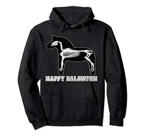 Happy Dalaween Funny Schwedisch Dala Pferd Halloween schwarz Pullover Hoodie (Mensch Pferd Kostüm)