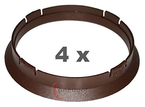 4 x Zentrierringe, Kunststoff 74.1mm auf 70.1mm braun