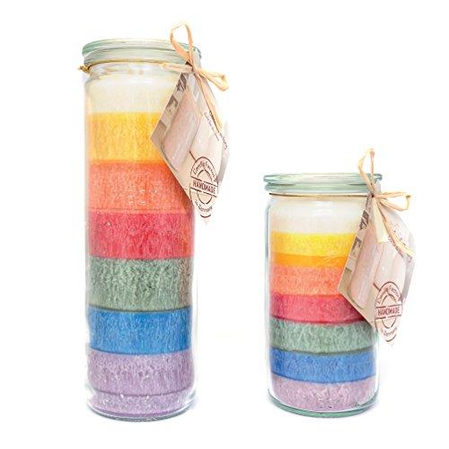 Candle Factory 2er Set - Mini & Big Jumbo Kerze im Weckglas Farbe: regenbogen