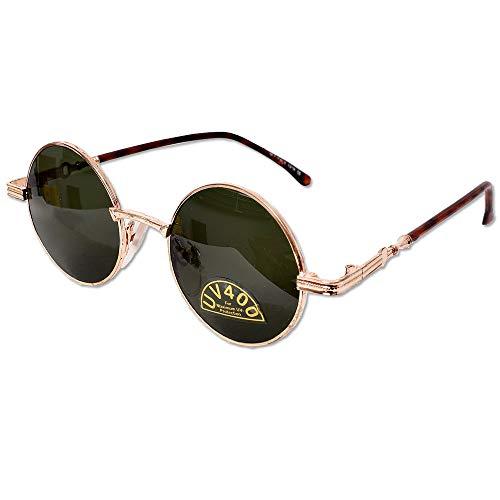 tevenger Nickelbrille Runde Nerd Sonnenbrille UV400 Rund Damen Herren Zubehör Randfarbe Gold Bügel Braun meliert Glas Braun 42mm