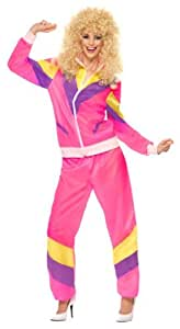 Smiffy's 80's Height of Fashion Shell Suit Costume with Jacket and Trousers - Pink, Small