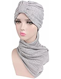 fb1f9b2c8c2 Qhome Women Multi Function Hijab Turban With Scarf Head Wrap Extra Long  Cotton Tube Headwrap Scarf