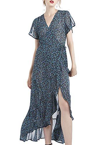 OURHERITAGE CLOTHING Damen Long Kleid Wickelkleid mit Rüschen Maxi Casual M Marineblau Blumendruck -