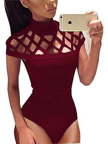 Longwu Women's Sexy Hollow Out Bodysuit Jumpsuit Leotard Bandage Clubwear