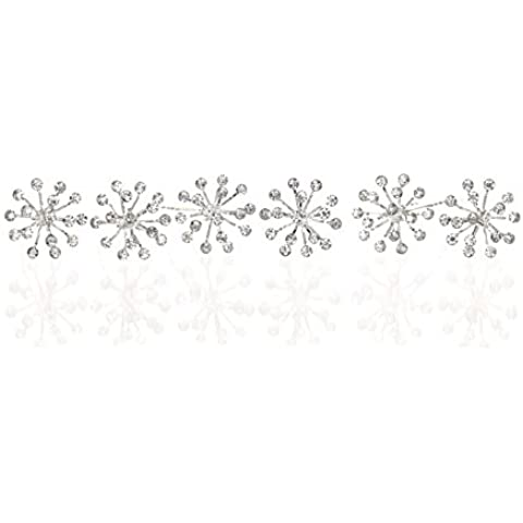 Set of 6 Starburst Design Hair Pins - Clear Crystals Silver Plating H112 by Venus Jewelry