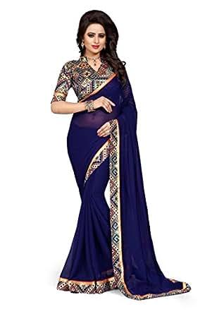 Oomph! Women's Chiffon Saree (Anjani_1091B,Indigo Blue,Free Size)