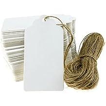 OULII Kraft bianco carta carta matrimonio favore regalo Tag prezzo etichetta con spago iuta, 90 * 45mm, confezione da 100, bianco