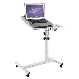Homgrace Tavolino Porta PC Pieghevole con 4 Ruote, Tavolo Portatile Altezza Regolabile 60 cm-90cm, Laptop Desk con 2 Pannelli (Bianco)