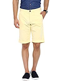 Showoff Men's Yellow Solid Chino Shorts