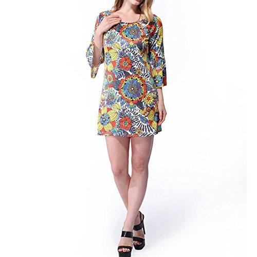 Haodasi les motifs floraux vintage longue robe robe d'été, la jupe de loisirs yellow