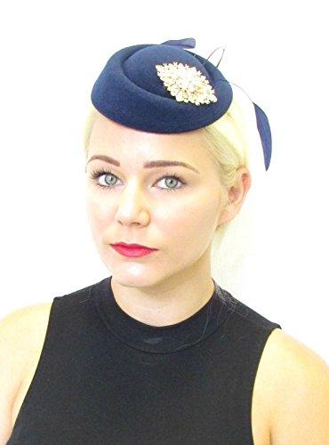 Bleu marine Doré plumes Chapeau bibi courses vintage Cheveux Argent 40S 571 * exclusivement Vendu par Starcrossed Beauty *