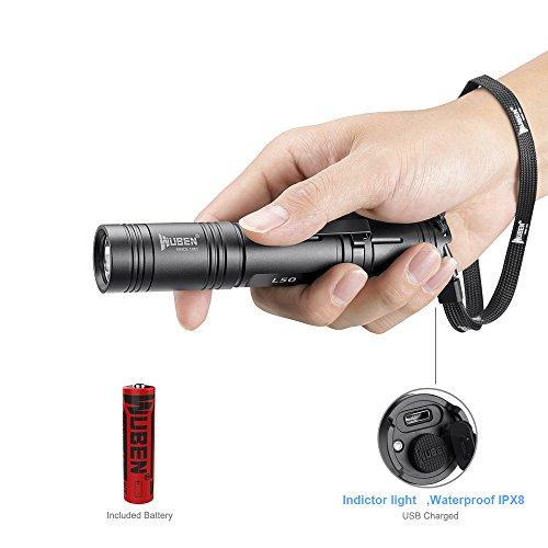 LED Taschenlampe/Taktische Taschenlampe Outdoor Handlampe Wasserfest IPX8 USB Wiederaufladbar LED Taschenlampen WUBEN Extrem Super hell aufladbar, Wandern,Mit 18650 Batterie,Schwarz (Eine LED)