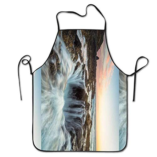 GDESFR Apron with Pock,Water Thor;s Well Oregon Waterfall Deluxe Aprons Personalized Printing Kitchen ()