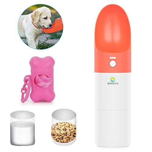 Makife Wasserflaschen für Hunde Hundetrinkflasche 2 in 1 mit Lebensmittelflasche Haustier Wasserflasch Hund Katze Trinkflasche Pet Travel Walking Water Drink Flasche mit Hundekotbeutel