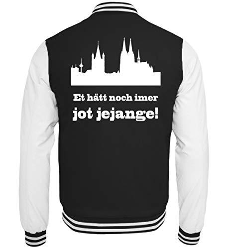 Köln/Kölsch: Et hätt noch Immer jot jejange - Geschenk Humor - Ruud und Wieß - Spaß - College Sweatjacke -XL-Schwarz-Weiss