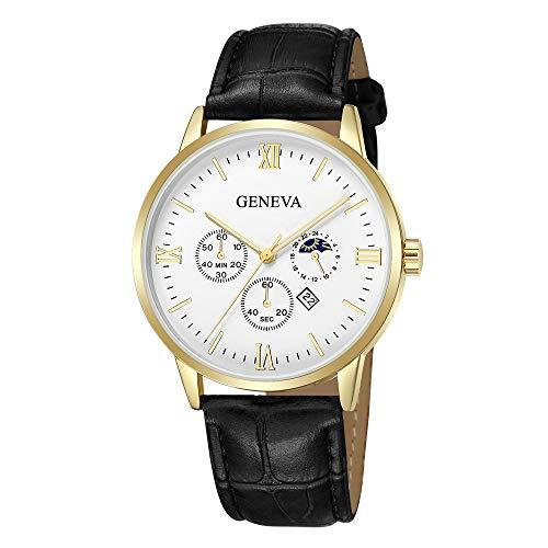Neuer Trend  Armbanduhr Herren Quarzuhr Analog Armbanduhr für Damen und Herren Mode Klassisch Uhr Lederarmband Wrist Watch ultradünn Zifferblatt Uhr LEEDY