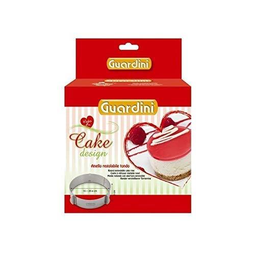 Guardini Coffret cadeau, Cadre à pâtisserie réglable rond Ø 16-28 cm, Acier Inox, Couleur argent