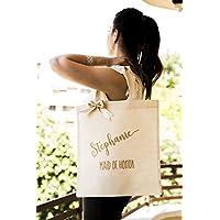 Bridesmaid Gift Tote Bag Demoiselle d'honneur Femmes 100% Coton Naturel sac à main Tote Bags Sac à Moyen de Cadeau Faveur Mariage Canvas Bag Bridesmaid Personnalisé Sac Cadeau pour Demoiselle d'honneur