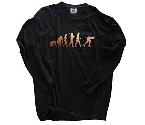 Bronze Edition Eisschnelllauf I Eislaufen Schlittschuhe Evolution Longsleeve-Shirt Schwarz XXL