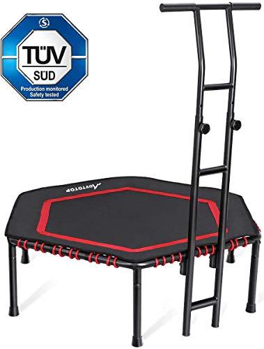 MOVTOTOP Fitness-Trampolin mit haltegriff, Ø122cm Trampolin für Jumping Fitness Körpertraining und Cardio Workouts, Trampolin Indoor Erwachsene und Kinder- Bs120kg (Rot)