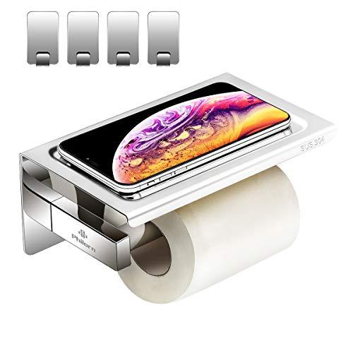 Philorn portarotolo carta igienica adesivo, porta carta igienica a muro con porta cellulare | autoadesivo 3m, senza foratura | fatto di anti-ruggine cromato in acciaio inox (finitura lucida)