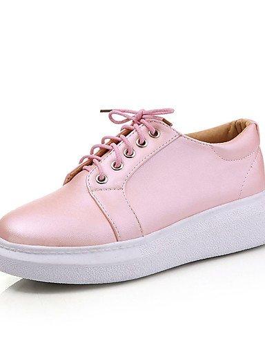 ZQ Scarpe Donna-Stringate-Casual / Sportivo-Comoda / Punta arrotondata-Plateau-Finta pelle-Rosa / Argento / Dorato , pink-us6.5-7 / eu37 / uk4.5-5 / cn37 , pink-us6.5-7 / eu37 / uk4.5-5 / cn37 golden-us8 / eu39 / uk6 / cn39