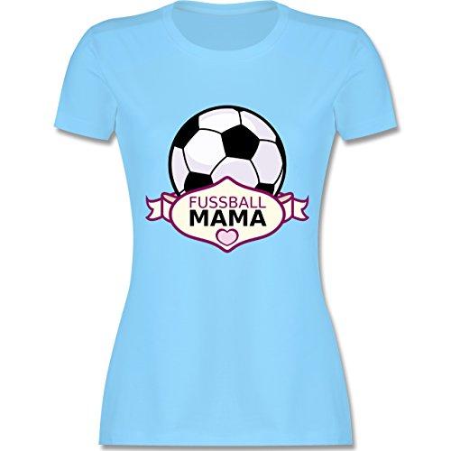 Shirtracer Muttertag - Fußball Mama - Damen T-Shirt Rundhals Hellblau
