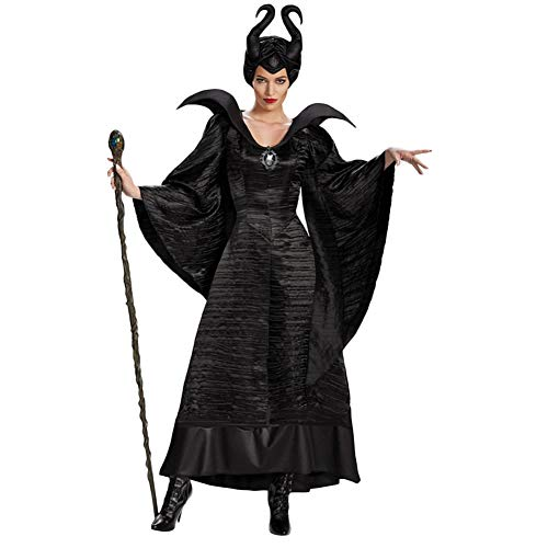 Fanstyle Maleficent Fassen Cosplay Kleid Schwarz Hexenkostüm Marlene Fiesen Kleid Hut 2 Stück