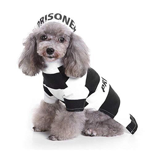 Kostüm Hunde Gefangener - WINNER POP Halloween Gefangene Haustierkleidung - Gefängnis Hund Katze Kostüm Party Geburtstag Cosplay Kostüm mit Hut Mops/Teddy/Chihuahua/Katze